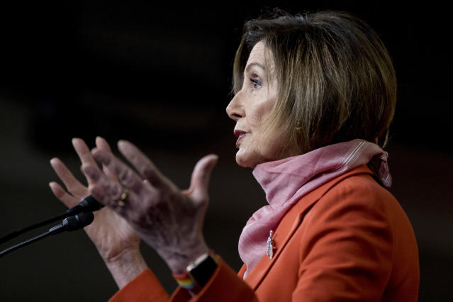 House Speaker Nancy Pelosi at a news conference on Friday. (AP Photo/Andrew Harnik)