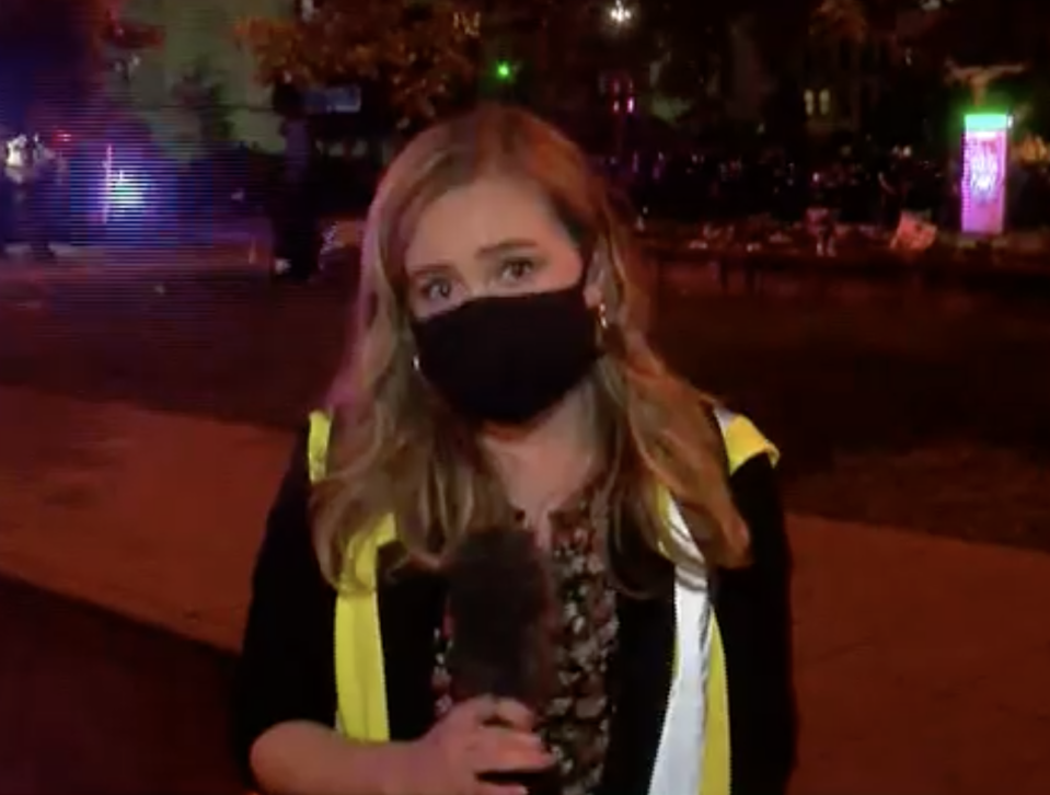 Louisville journalist Kaitlin Rust was not seriously injured in the incident. She was crossing live on air to her Wave 3 News colleagues about protests that have been sparked across the country after the death of George Floyd.