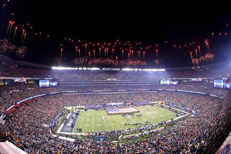 East Rutherford, NJ, USA; Fireworks go off during the playing of the national anthem before Super Bowl XLVIII between the Seattle Seahawks and the Denver Broncos at MetLife Stadium. Mandatory Credit: Anthony Gruppuso-USA TODAY Sports