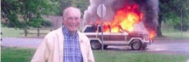 man with truck on fire