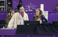 <p>Johnny Weir and Tara Lipinski comment for NBC on the Pair Figure Skating Free Program at the PyeongChang 2018 Winter Olympic Games on Feb.15, 2018, in South Korea. (Photo by Jean Catuffe/Getty Images) </p>