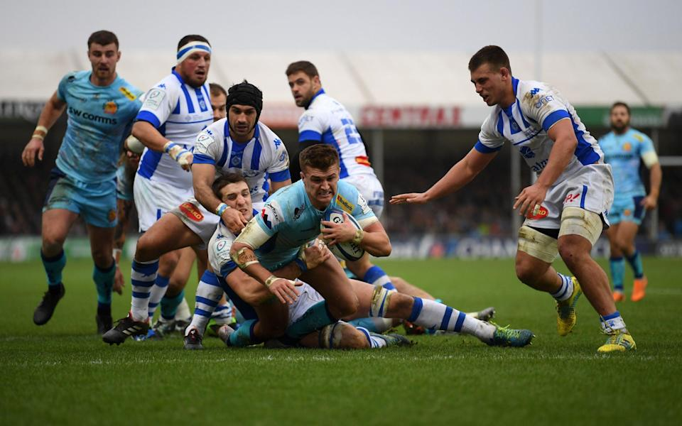 A ruck at Exeter Chiefs featuring Henry Slade -Gallagher Premiership referees to crack down on breakdown discipline after safety concerns raised by players - GETTY IMAGES