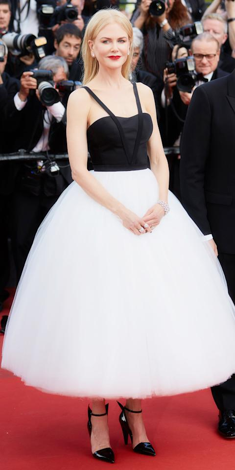 """<p>The actress donned a glorious <a rel=""""nofollow"""" href=""""https://explore.calvinklein.com/en_EU/page/byappointment"""">Calvin Klein by Appointment</a> tulle skirt and bustier at the <em>Killing of a Sacred Deer</em> screening.</p>"""