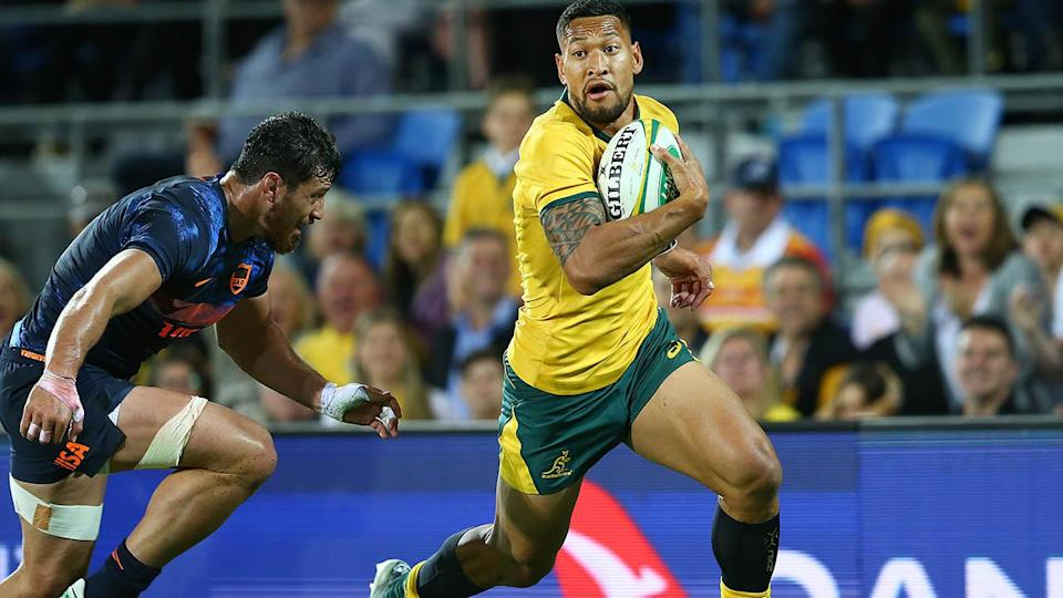 Israel Folau of the Wallabies. (Photo by Jono Searle/Getty Images)