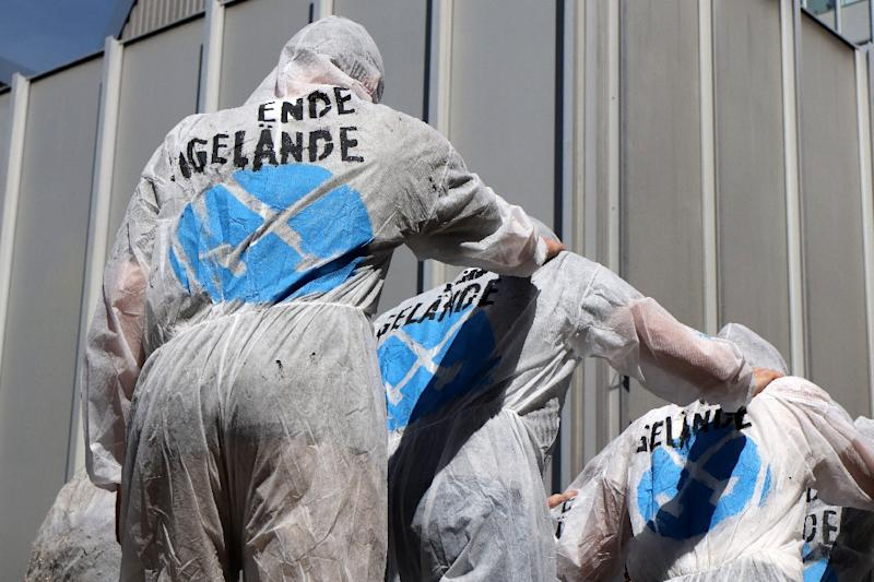 Members of the civil disobedience protest movement for climate justice, Ende Gelaende, conducted a drill in Frankfurt early this month (AFP Photo/Yann Schreiber)