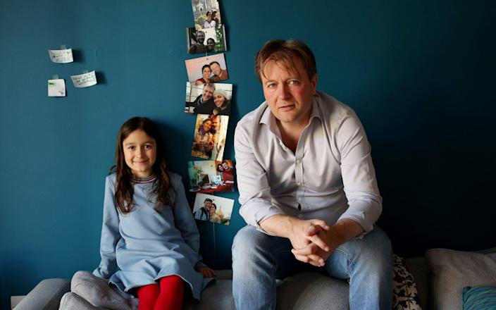 the UK must acknowledge that Nazanin Zaghari-Ratcliffe is an Iranian hostage, says husband Richard Ratcliffe, pictured with his daughter Gabriella, 6 - Clara Molden for The Telegraph