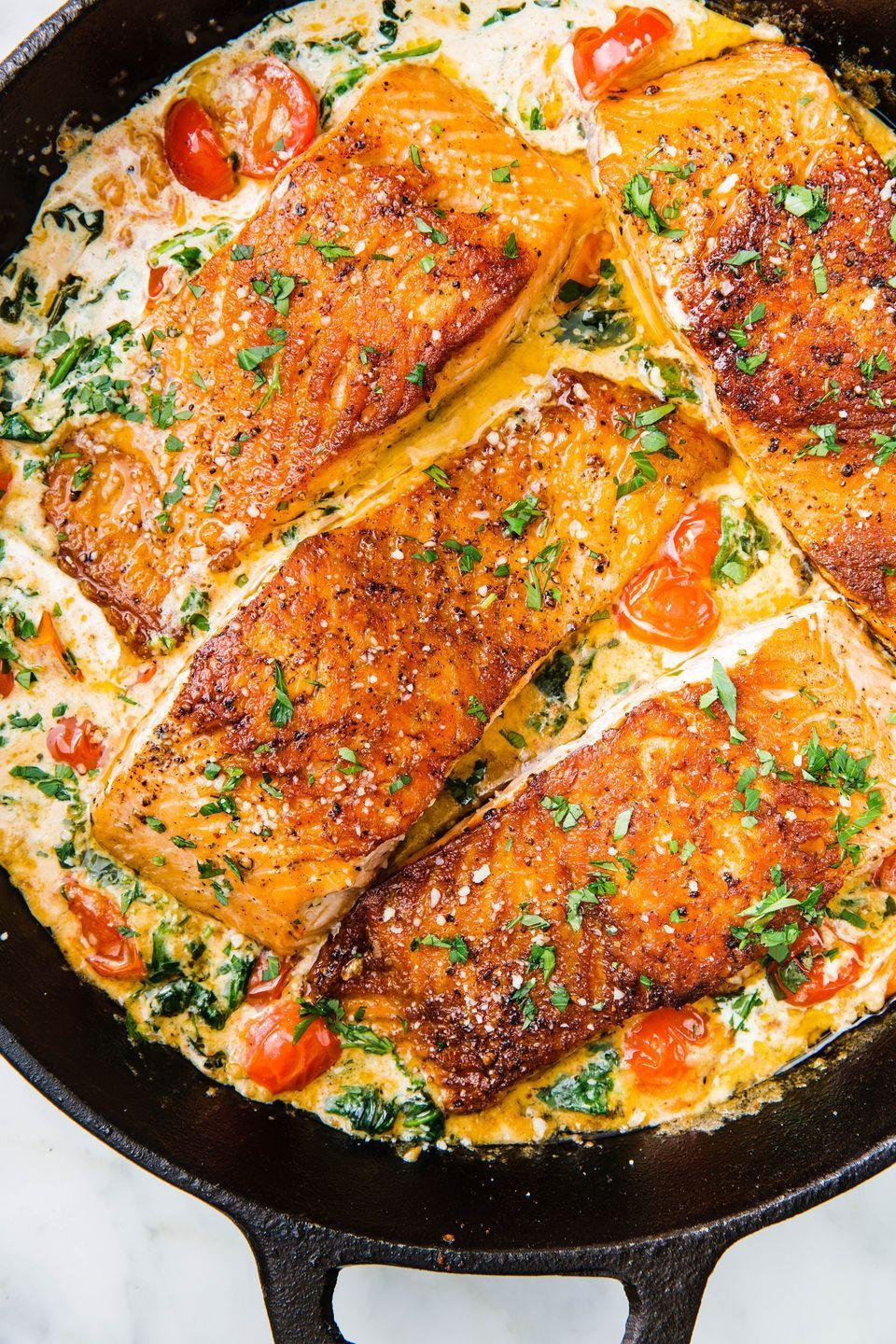 "<p>Your new favorite salmon recipe.</p><p>Get the recipe from <a href=""https://www.delish.com/cooking/recipe-ideas/recipes/a58412/tuscan-butter-salmon-recipe/"" rel=""nofollow noopener"" target=""_blank"" data-ylk=""slk:Delish"" class=""link rapid-noclick-resp"">Delish</a>.</p><p><strong><em>BUY NOW: Le Creuset Braiser, $294.95, <a href=""https://www.amazon.com/Creuset-Signature-Enameled-Cast-Iron-4-Quart/dp/B0076NORDA/?tag=syn-yahoo-20&ascsubtag=%5Bartid%7C1782.g.4203%5Bsrc%7Cyahoo-us"" rel=""nofollow noopener"" target=""_blank"" data-ylk=""slk:amazon.com"" class=""link rapid-noclick-resp"">amazon.com</a>.</em></strong></p>"