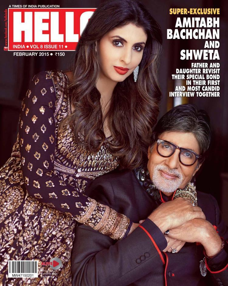 <p>Big B and his daughter Shweta posed first time on the cover of Hello magazine last February. Clad in designer outfits, the father-daughter duo looked every bit classy as they posed hand-in-hand.</p>