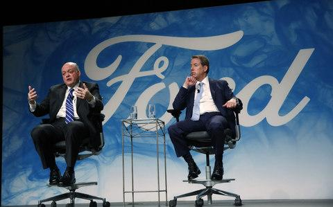 Jim Hackett being announced as the new chief executive of Ford by chairman Bill Ford - Credit: Bloomberg