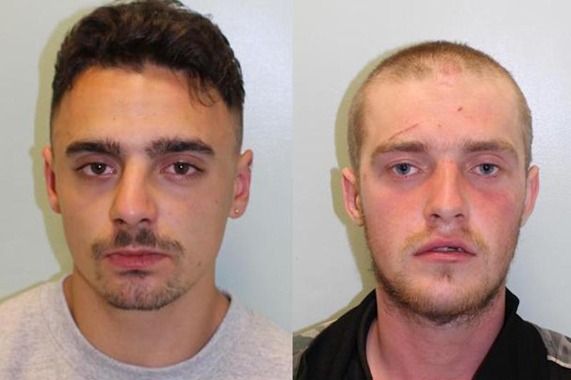 Drunk thugs: Finian Barratt and Michael Long have been jailed: Met Police