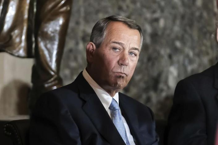Former House Speaker John Boehner attends a ceremony to unveil a portrait of himself on Capitol Hill, Tuesday, Nov. 19, 2019 in Washington. (AP Photo/Michael A. McCoy)
