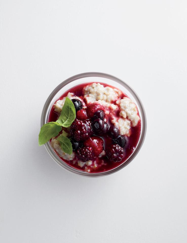 "<p><a rel=""nofollow"" href=""http://www.myrecipes.com/recipe/steel-cut-oats-compote"">Steel Cut Oats with Warm Berry Compote</a></p>  <p>Warm berries are poured over steel cut oats to create a sweet treat in a healthy breakfast bowl with 41g of whole grains per serving. Make sure to use organic butter and honey.</p>  <p><a rel=""nofollow"" href=""http://www.myrecipes.com/recipe/greek-farro-chickpea-salad"">Greek Farro and Chickpea Salad</a></p>  <p>This greek-inspired salad works as a great make-ahead lunch that is not shy on flavor. The hearty farro grain gives the salad great texture, while the crumbled feta adds a delicious tangy flavor with each bite.</p>"
