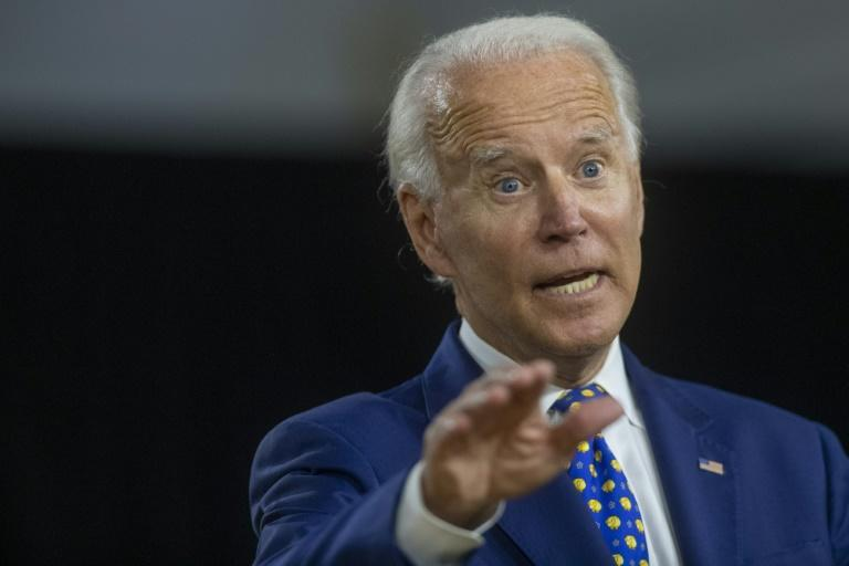 Presumptive Democratic presidential nominee Joe Biden was visibly annoyed when asked if he'd taken a cognitive test (AFP Photo/Mark Makela)