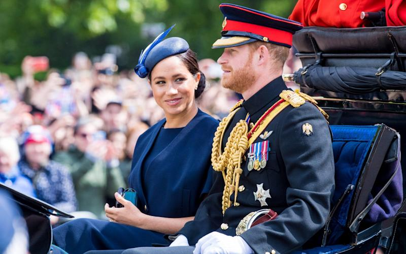 Prince Harry and Meghan during Trooping the Colour ceremony - SIPA USA
