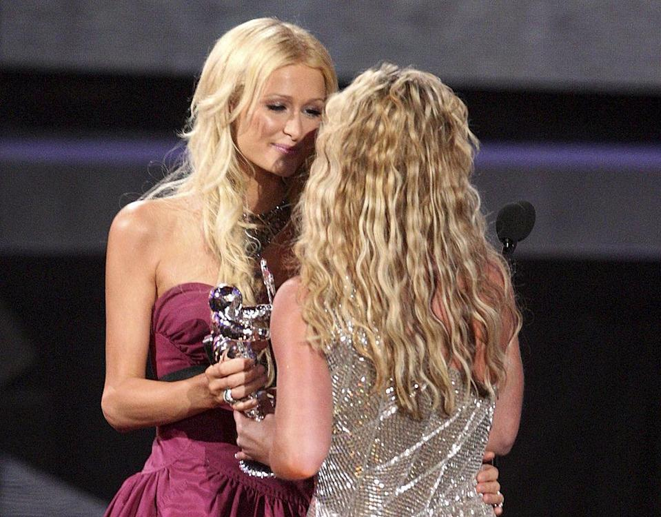 Paris and Britney embrace on stage at the VMAs in 2008