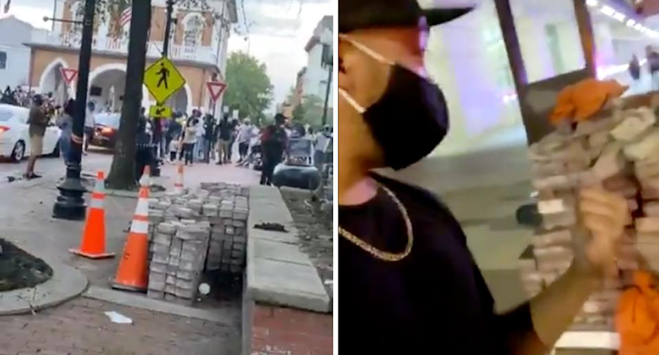 Bricks pictured in Fayetteville have been circulating widely on social media. Source: Twitter