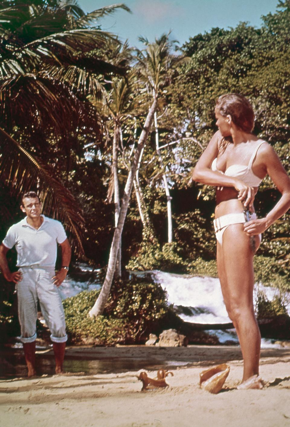 Actress Ursula Andress and actor Sean Connery on the set of