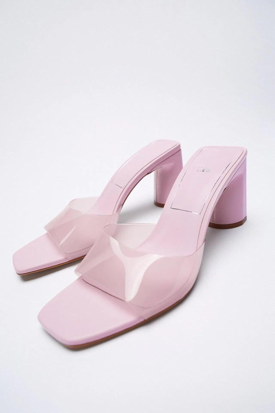 <p>These <span>Zara Wide Heeled Vinyl Sandals</span> ($50) are great summer shoes. They're the right heel height, enough to feel something but not sky high. They also come in a few different colors, but we like the pink because it's a seasonal staple.</p>