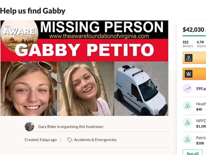 """A screenshot of a GoFundMe titled """"Help Us Find Gabby"""", showing $42,000"""