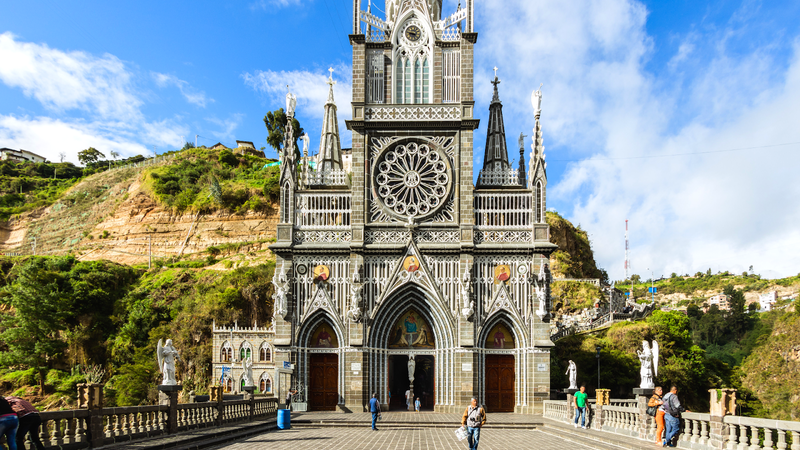 A beautiful shot of the front of the Las Lajas Shrine in Columbia.