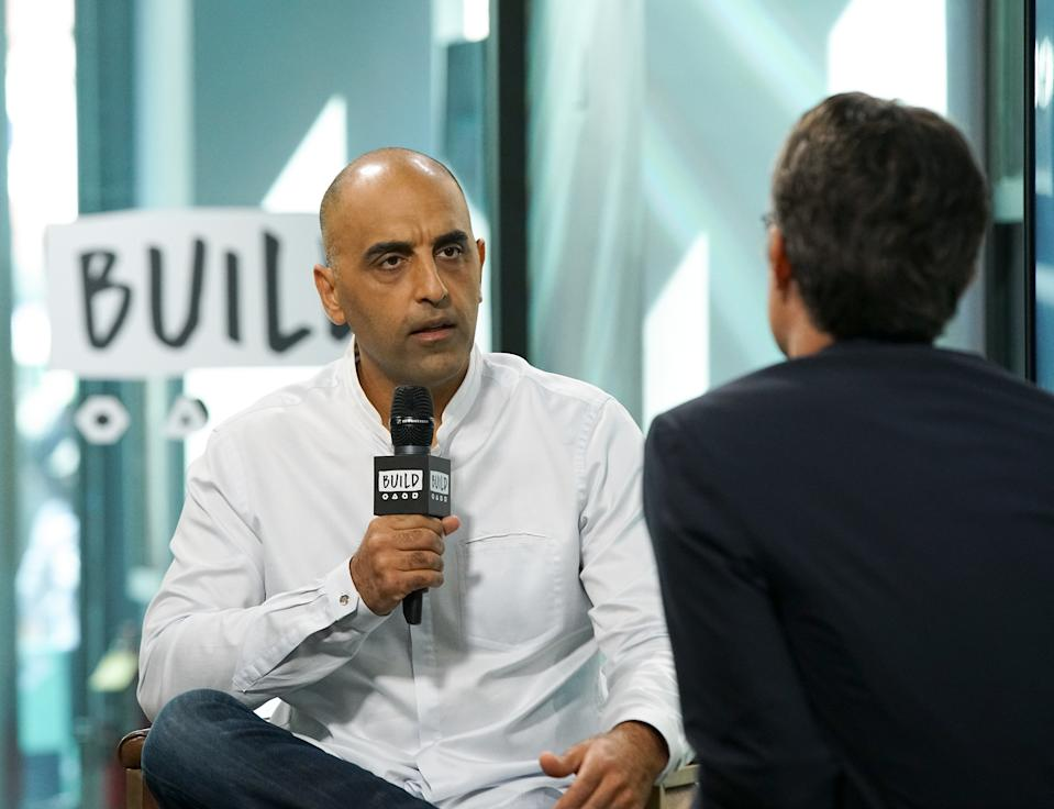 """NEW YORK, NY - SEPTEMBER 26:  Activist Pedram Shojai visits Build to discuss the film """"Prosperity"""" at Build Studio on September 26, 2017 in New York City.  (Photo by Bennett Raglin/Getty Images)"""