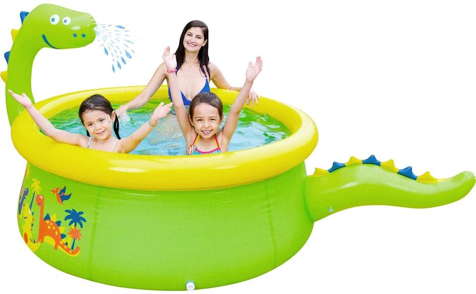 """<p>The mouth of the dinosaur on this <a href=""""https://www.popsugar.com/buy/Lunvon-Inflatable-Swimming-Pool-572372?p_name=Lunvon%20Inflatable%20Swimming%20Pool&retailer=amazon.com&pid=572372&price=99&evar1=moms%3Aus&evar9=46219004&evar98=https%3A%2F%2Fwww.popsugar.com%2Fphoto-gallery%2F46219004%2Fimage%2F47457374%2FLunvon-Inflatable-Swimming-Pool&list1=shopping%2Cpools%2Csummer%2Ckid%20shopping&prop13=api&pdata=1"""" class=""""link rapid-noclick-resp"""" rel=""""nofollow noopener"""" target=""""_blank"""" data-ylk=""""slk:Lunvon Inflatable Swimming Pool"""">Lunvon Inflatable Swimming Pool</a> ($99) has a sprinkler, so you know this pool is fun.</p>"""