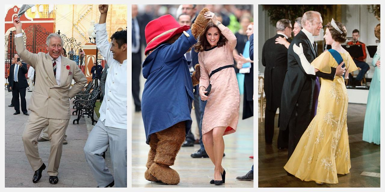 <p>The royal family has many responsibilities. Luckily for us, they're even required to dance, in the name of diplomacy (and perhaps even for fun). Here, the best photos of Queen Elizabeth, Meghan Markle, Prince Harry, and countless other royals on the dance floor.</p>