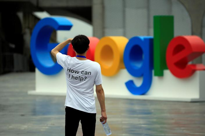 A Google sign is seen during the WAIC (World Artificial Intelligence Conference) in Shanghai, China, September 17, 2018. (Photo: REUTERS/Aly Song)