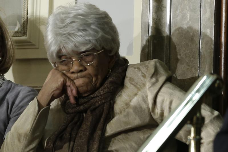 Desiline Victor, 102, of Miami, awaits the start of President Barack Obama's State of the Union address during a joint session of Congress on Capitol Hill in Washington, Tuesday Feb. 12, 2013. (AP Photo/Pablo Martinez Monsivais)