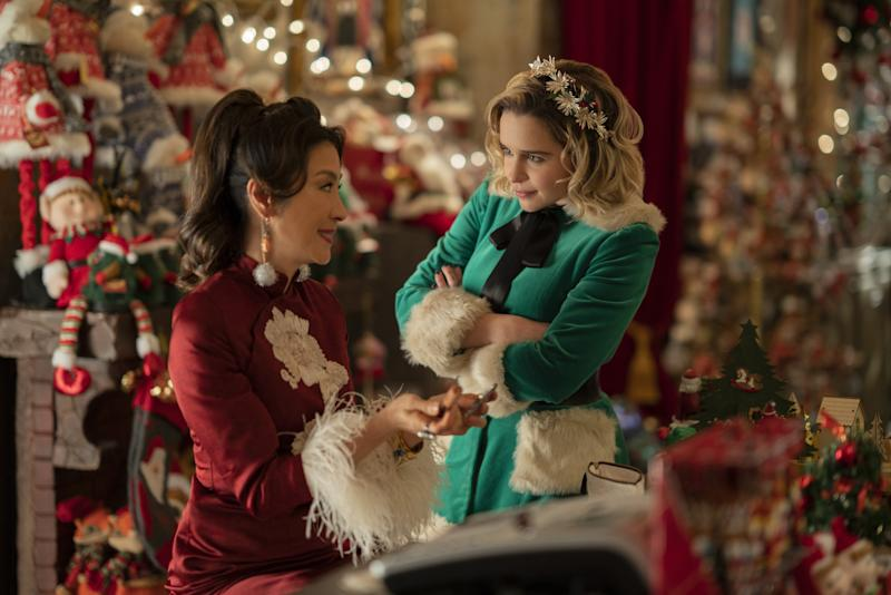 Michelle Yeoh as Santa and Emilia Clarke as Kate in Last Christmas.
