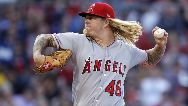 Los Angeles Angels starting pitcher John Lamb delivers during the first inning of the team's baseball game against the Boston Red Sox at Fenway Park in Boston, Tuesday, June 26, 2018. (AP Photo/Charles Krupa)