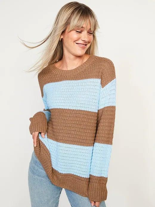 <p>The contrast between this <span>Old Navy Cozy Textured Sweater</span> ($40) really pops but there's also a lovely mauve and light gray version as well.</p>