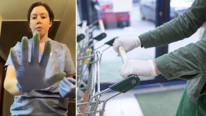 Using paint the nurse showed why wearing gloves alone isn't going to protect you from bacteria.