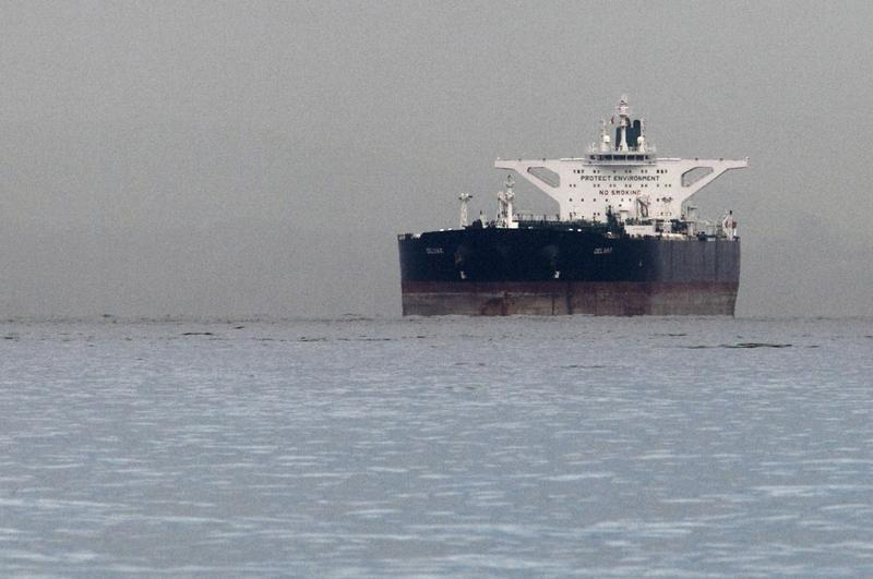 """Iranian crude oil supertanker """"Delvar"""" is seen anchored off Singapore"""
