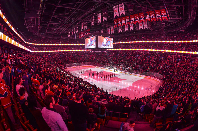 MONTREAL, QC - NOVEMBER 26: General view during the pre-game ceremony between the Montreal Canadiens and the Boston Bruins at the Bell Centre on November 26, 2019 in Montreal, Canada. The Boston Bruins defeated the Montreal Canadiens 8-1. (Photo by Minas Panagiotakis/Getty Images)