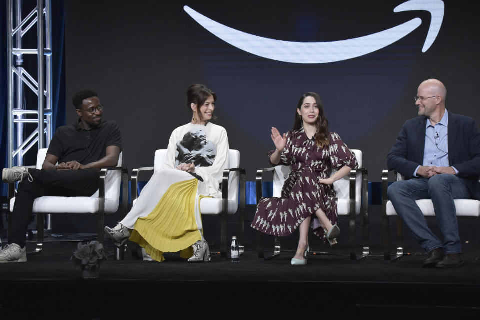 "Gary Carr, from left, Anne Hathaway, Cristin Milioti and Daniel Jones participate in the Amazon Prime Video ""Modern Love"" panel at the Television Critics Association Summer Press Tour on Saturday, July 27, 2019, in Beverly Hills, Calif. (Photo by Richard Shotwell/Invision/AP)"