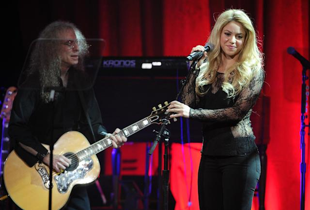 Shakira performs on stage at the 62nd Annual BMI Pop Awards at the Beverly Wilshire Hotel on Tuesday, May 13, 2014, in Beverly Hills, Calif. (Photo by Chris Pizzello/Invision/AP)