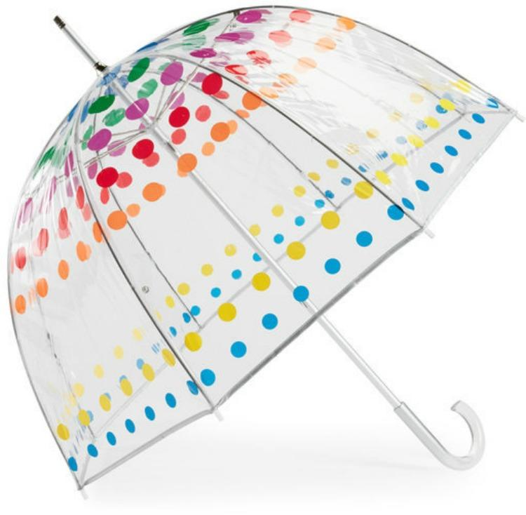This one's obviously a classic stormy weather necessity, but the rainbow polka dots also add the perfect dash of whimsy. Whimsy you will desperately need after a solid month of gray skies.Buy It! Totes Bubble Manual Umbrella, $26; jcpenney.com