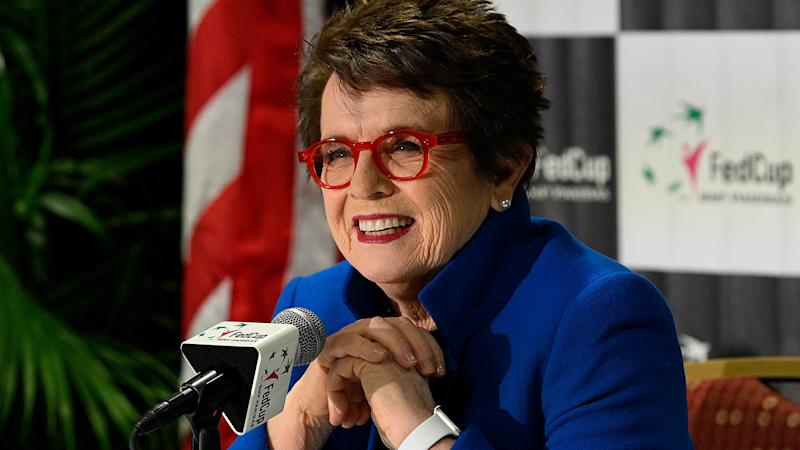 Billie Jean King, pictured here speaking to the media in 2019.