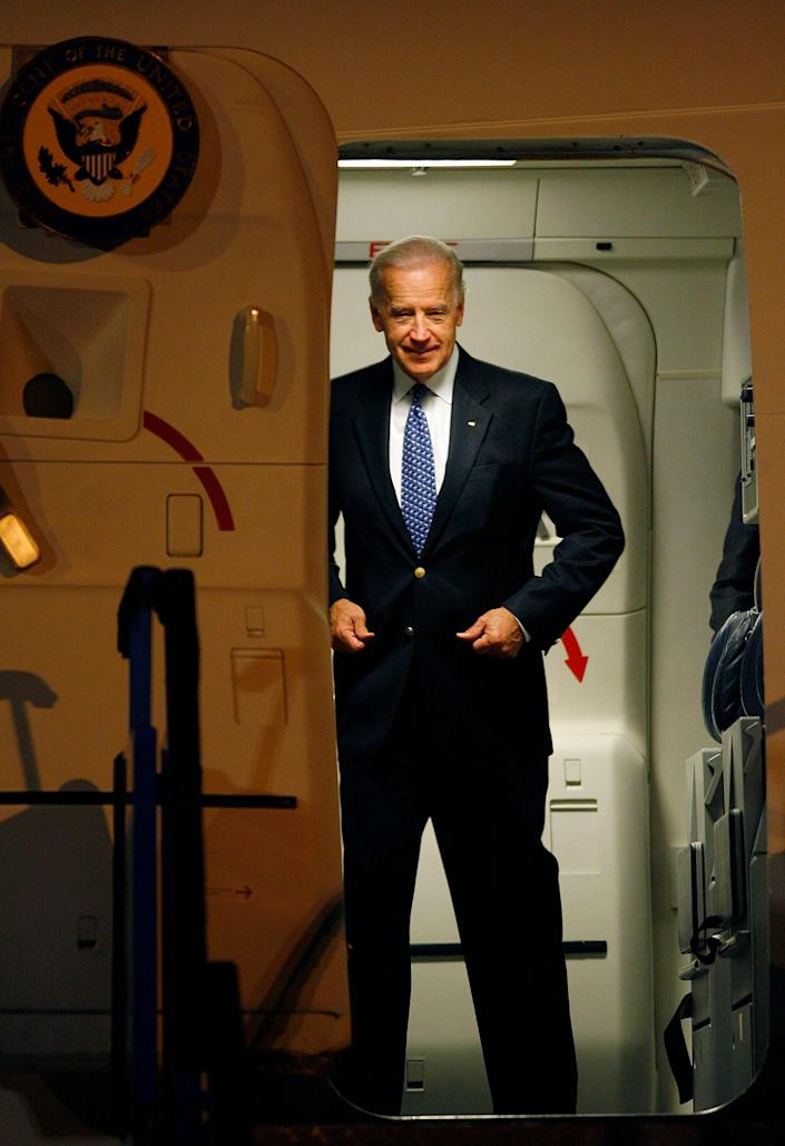 U.S. Vice President Joe Biden gets ready to step out of a plane after landing in Sarajevo early May 19, 2009. Biden arrived in Bosnia on Tuesday hoping to bolster a country still plagued by instability and ethnic division 14 years after the end of Europe's worst conflict since World War Two.