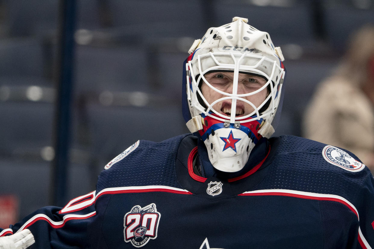 COLUMBUS, OH - MAY 08: Matiss Kivlenieks #80 of the Columbus Blue Jackets looks on during the game between the Columbus Blue Jackets and the Detroit Red Wings at Nationwide Arena in Columbus, Ohio on May 8, 2021. (Photo by Jason Mowry/Icon Sportswire via Getty Images)