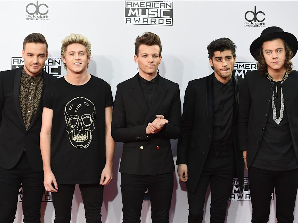 Liam Payne, Niall Horan, Louis Tomlinson, Zayn Malik, and Harry Styles at the American Music Awards in November 2014.