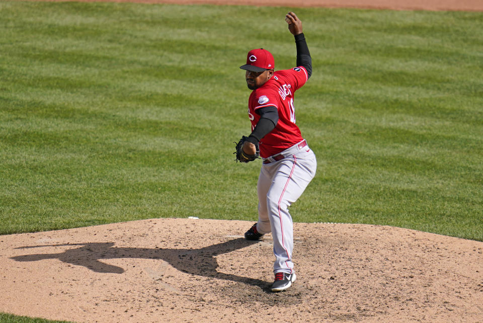 Cincinnati Reds relief pitcher Mychal Givens delivers during the ninth inning of a baseball game against the Pittsburgh Pirates in Pittsburgh, Thursday, Sept. 16, 2021. Givens got the save in a 1-0 Reds win. (AP Photo/Gene J. Puskar)