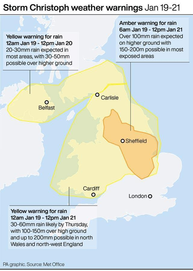 Weather warnings Jan 19-21