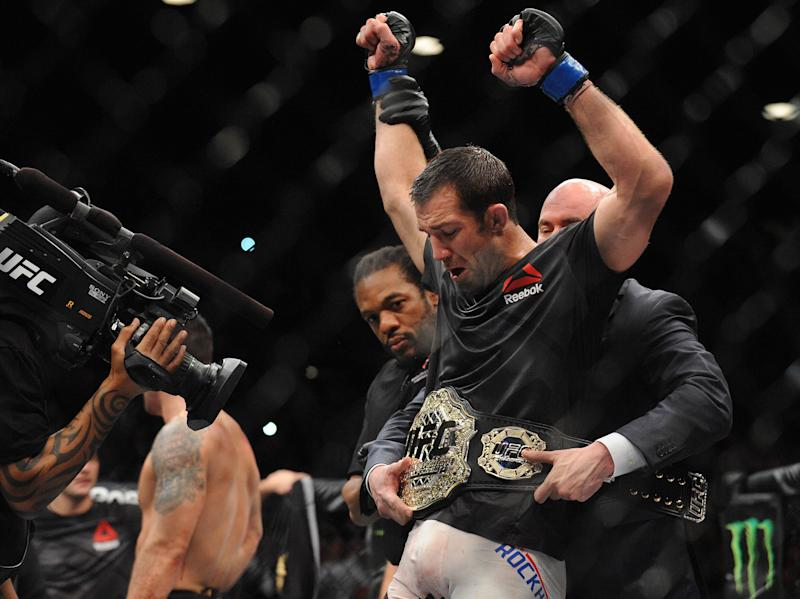 December 12, 2015; Las Vegas, NV, USA; Luke Rockhold is declared the winner and wins the championship against Chris Weidman during UFC 194 at MGM Grand Garden Arena. Mandatory Credit: Gary A. Vasquez-USA TODAY Sports
