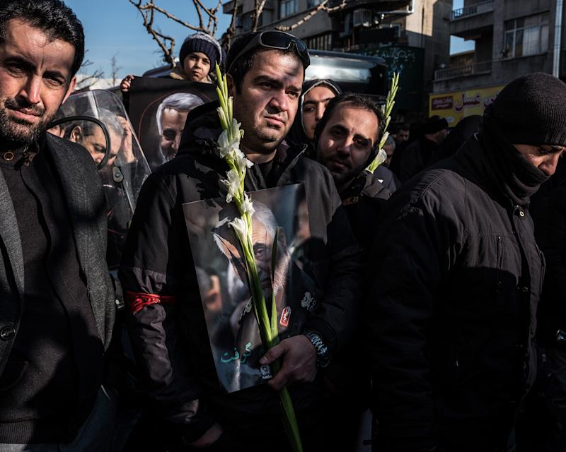 Vast crowds gathered in the streets of Iran's capital on Jan. 6 for a final farewell. | Newsha Tavakolian—Magnum Photos for TIME