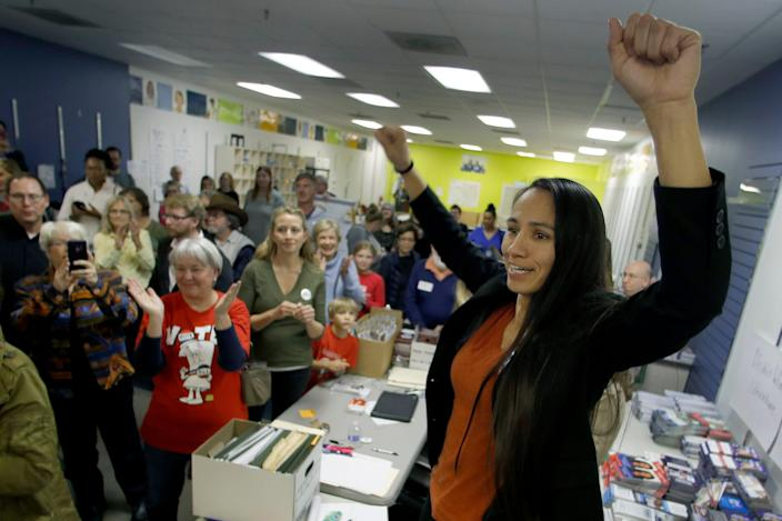 Democratic Congressional candidate Sharice Davids talks to supporters at her campaign office in October 2018 in Overland Park, Kansas.