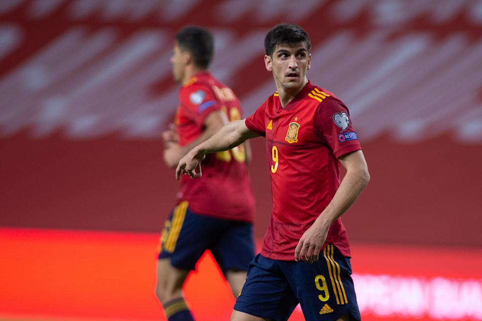 SEVILLA, SPAIN - MARCH 31: Gerard Moreno of Spain gestures during the FIFA World Cup 2022 Qatar qualifying match between Spain and Kosovo at La Cartuja stadium on March 31, 2021 in Sevilla, Spain. (Photo by Joaquin Corchero / Europa Press Sports via Getty Images)
