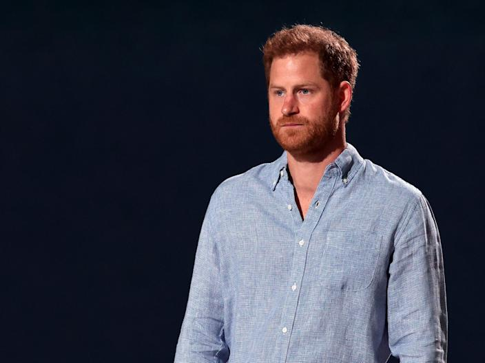 <p>Prince Harry, Duke of Sussex, speaks onstage during Global Citizen VAX LIVE: The Concert To Reunite The World at SoFi Stadium in Inglewood, California</p> (Getty Images for Global Citizen)