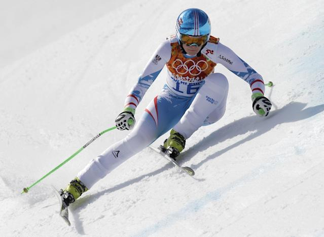 Austria's Nicole Hosp makes a turn during the downhill portion of the women's supercombined at the Sochi 2014 Winter Olympics, Monday, Feb. 10, 2014, in Krasnaya Polyana, Russia. (AP Photo/Luca Bruno)
